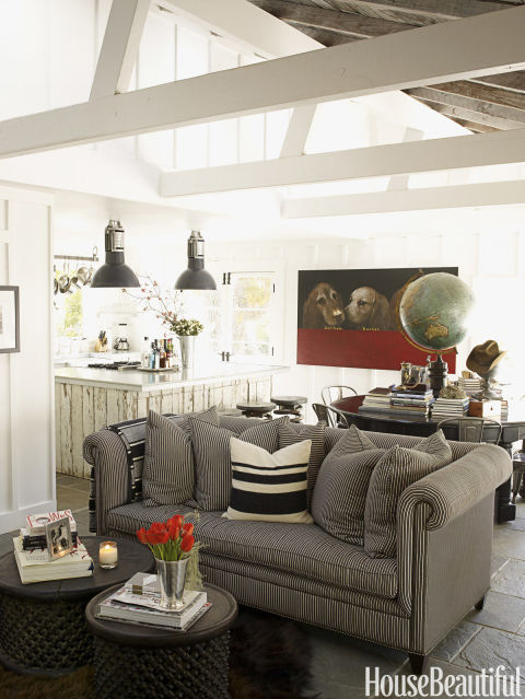 in designer ken fulks napa valley cottage two african drum tables take the place of - Sofa Design For Small Living Room