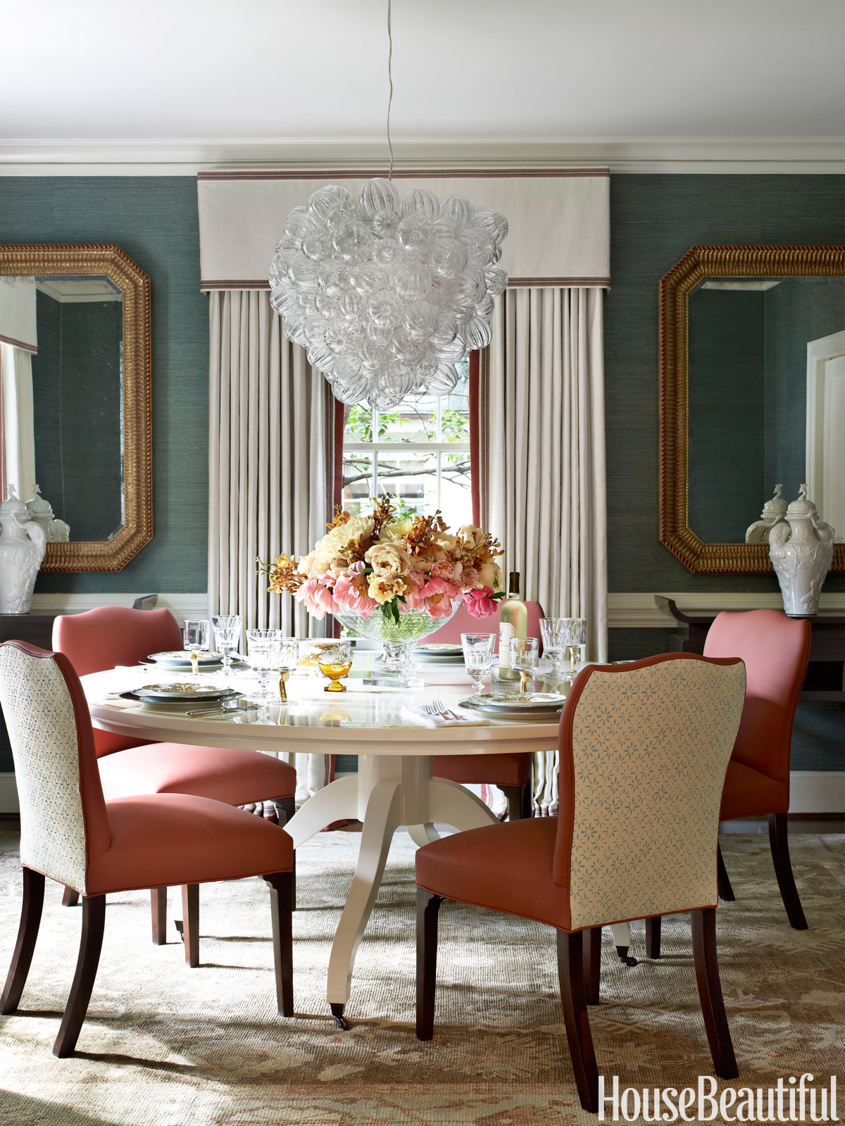 Colorful decorating ideas designer lindsey coral harper for Beautiful traditional dining rooms