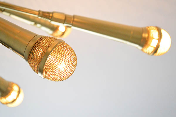 Buying a new Sputnik chandelier can cost thousands, but this homemade  version cost $156. And how rock 'n roll are the microphones? - DIY Sputnik Chandelier Made From Microphones - Microphone Sputnik