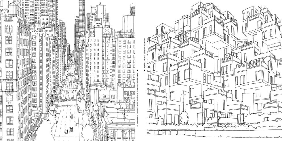 a grown up coloring book for big city lovers
