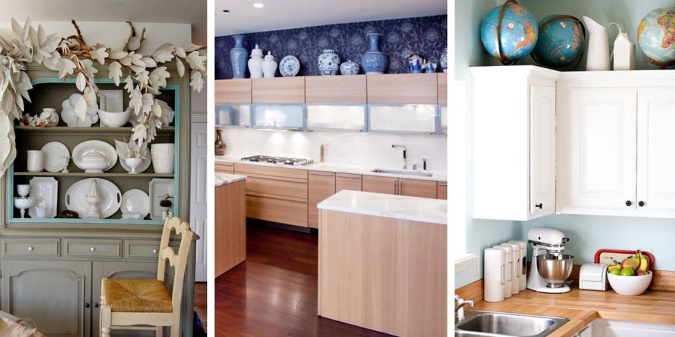 15 Photos - Design Ideas For The Space Above Kitchen Cabinets - Decorating