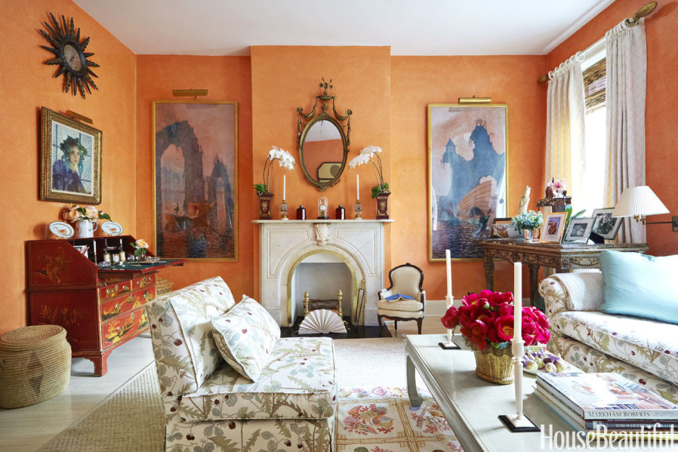 bright orange - House Beautiful Living Room Colors