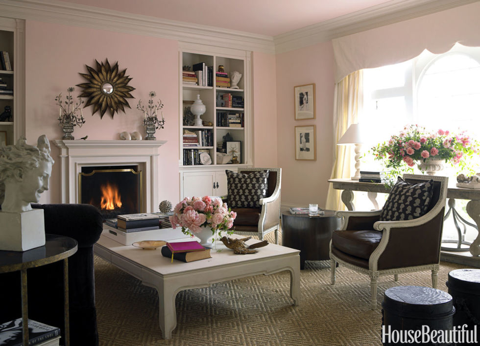soft pink - House Beautiful Living Room Colors