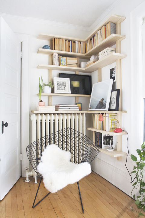 Free wall space makes a great backdrop for a homemade bookcase. This corner shelving from Deuce Cities Henhouse is easy enough for beginners to customize to their space. Get the how-to »