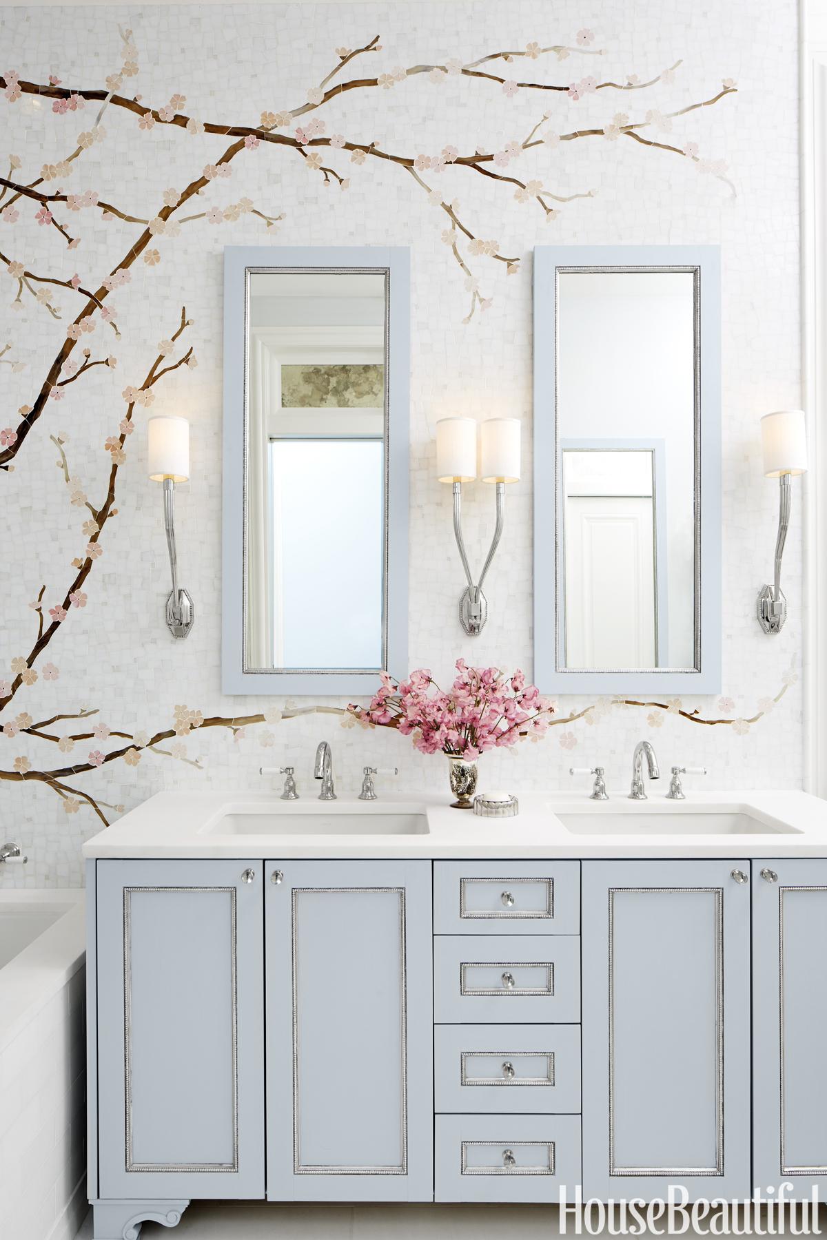 Mural Bathroom Cherry Blossom Tile Mural
