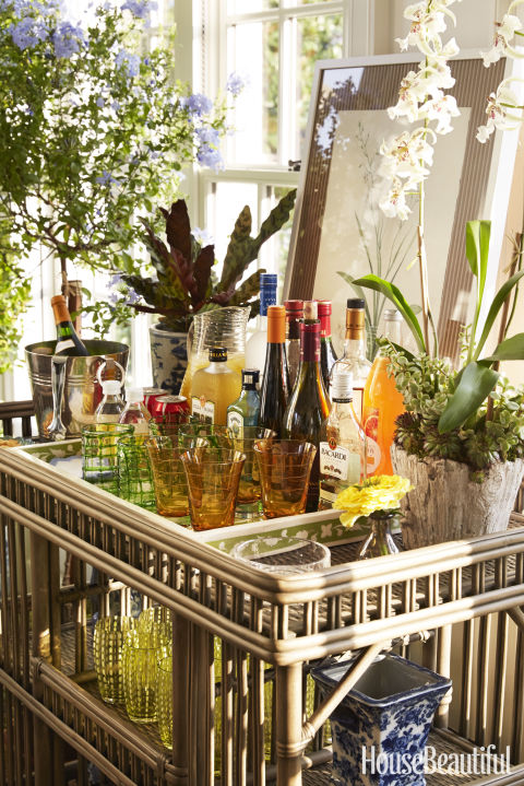 """Show, don't tell, what you're serving with a well-appointed bar. Guests feel more at home when they can help themselves."" —Bunny Williams<br />"