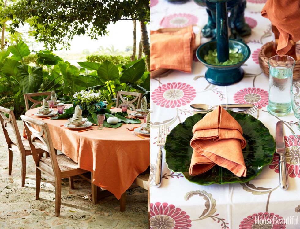 """Tablesettings are like guest lists: Diversity is key. Try patterned tablecloths, palm leaves as placemats, and rattan chargers for layer upon layer of interest."" —Bunny Williams<br />"