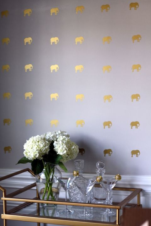 Create the look of all-over wallpaper with charming mini elephants. Since it's all about getting the pattern precise, try them in measured doses over a bar or in an entryway. See Southern Nest for more »