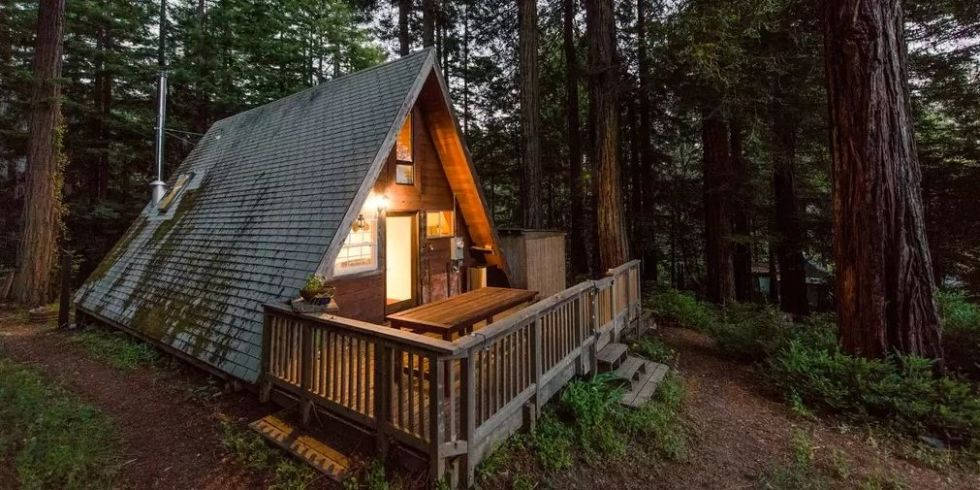 California Redwood Vacation Rental A Frame California Home