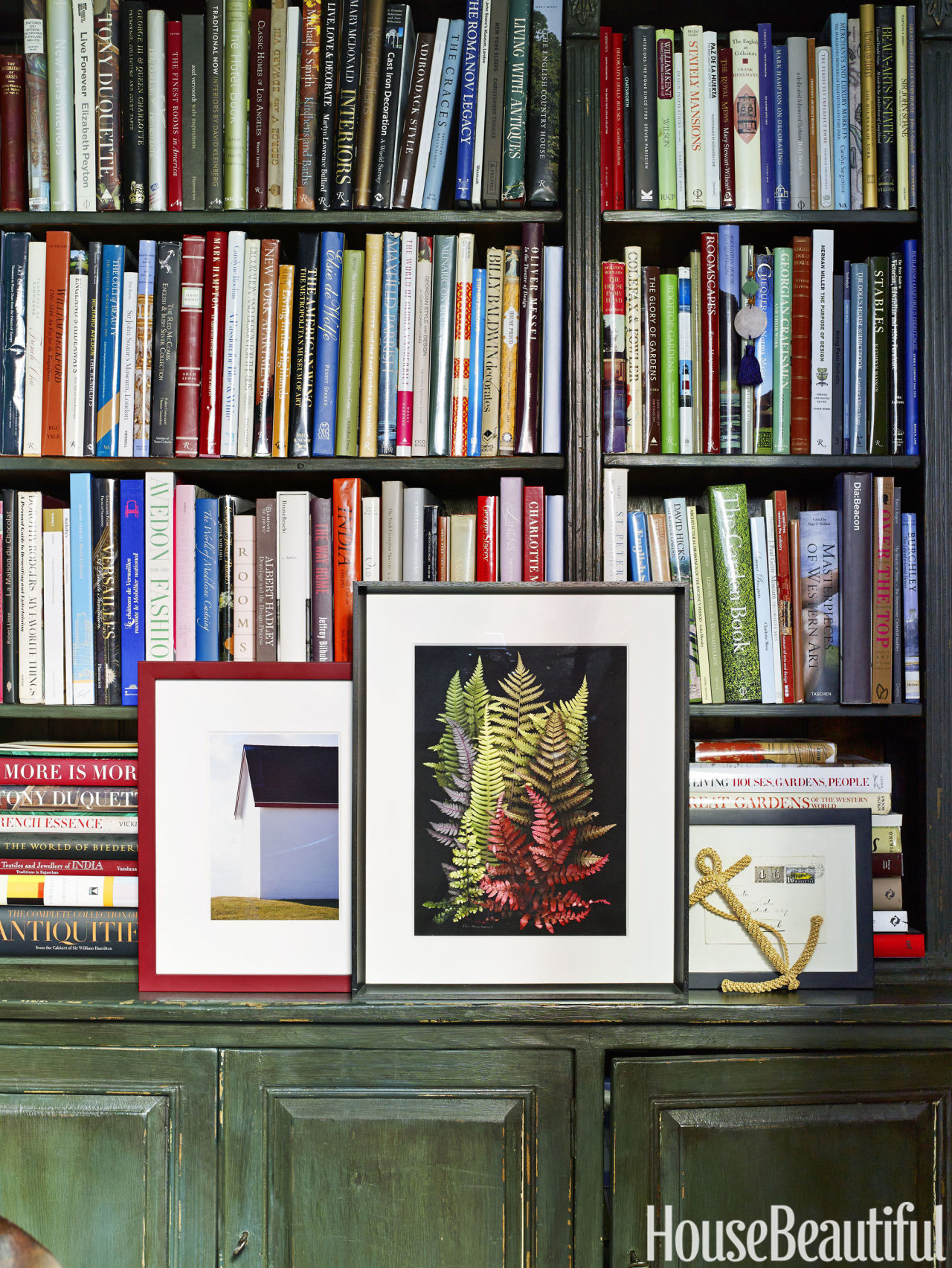 Treasured books are displayed in the Thin Man bookcase by Bunny Williams Home.