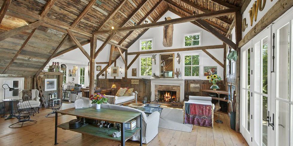 Converted english barn house barn home with exposed ceilings for Converting a pole barn into a house
