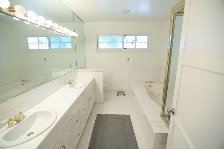white bathroom makeover - blue bathroom ideas