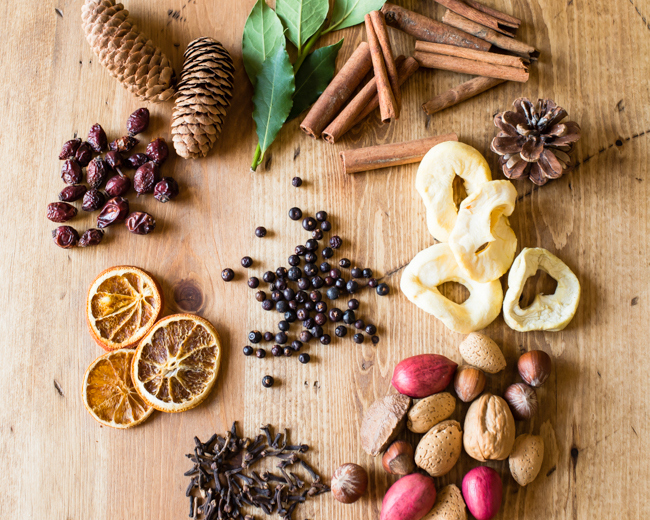 Potpourri might be the oldest scent game in town — but if ain't broke, right? Dried fruit paired with nuts and spices look classic in your favorite decorative bowl. Get the tutorial at Hello Natural »