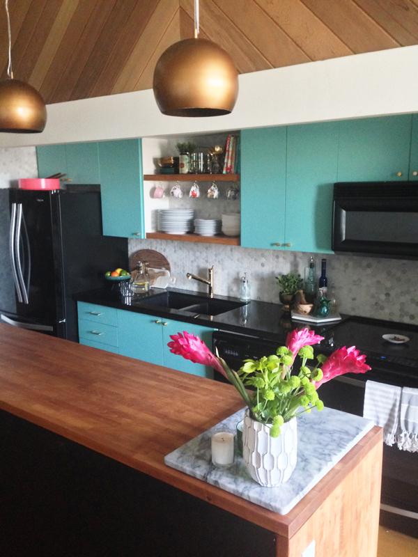 Modern Kitchen Makeovers modern vintage kitchen makeover - kitchen makeover with teal cabinets