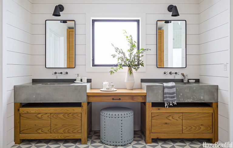 House Beautiful Bathroom a dark master bath turns cozy and modern - spa bathroom inspiration