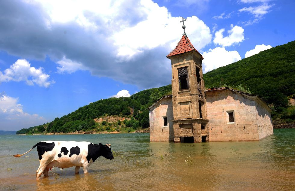 This flooded church of Saint Nicholas sits in the Mavorvo Lake in Macedonia. The destruction was actually intentional; the lake was created to support a power plant, and the church and surrounding village were merely caught in the wake of progress. What's left is an eerie juxatpositon of the dilpidated building against the lovely landscape.