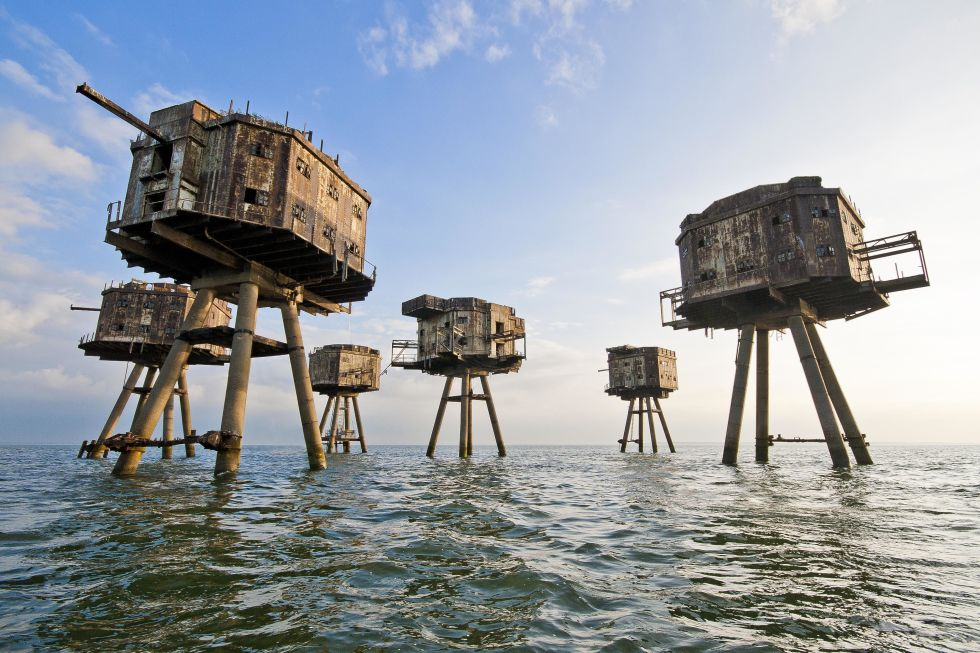 These forts were created to protect the Kent, England shores from a German attack during World War II. Afterwards, they were decommissioned in 1950, briefly served as radio stations for pirates, and are now abandoned completely.