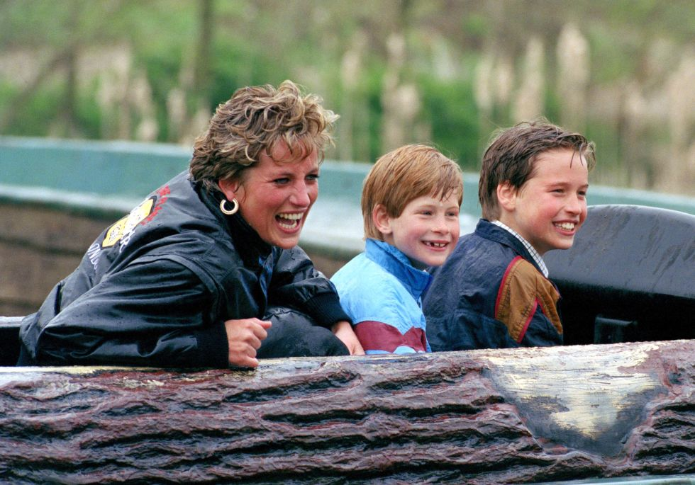 They ranged from Disney World and McDonald's to AIDS clinics and homeless shelters. Here, the Princess rides a log flume with both boys at Thorpe Park in Chertsey, England.