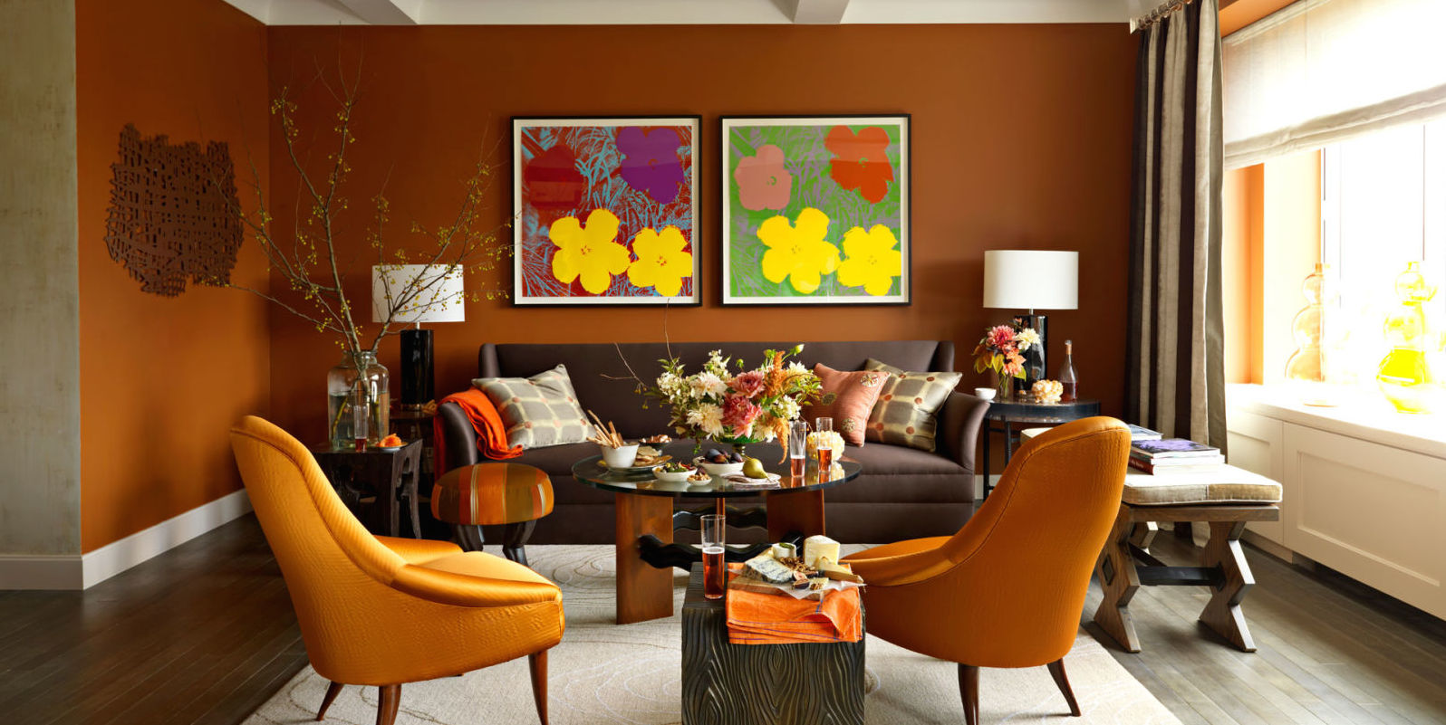 orange wall paint. virtual representation for the living room