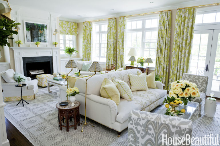 this designer balances bold patterns in a springy space - House Beautiful Living Room Colors