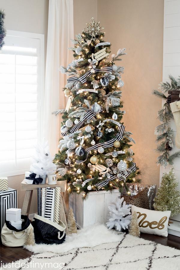 silver and black christmas tree skirt