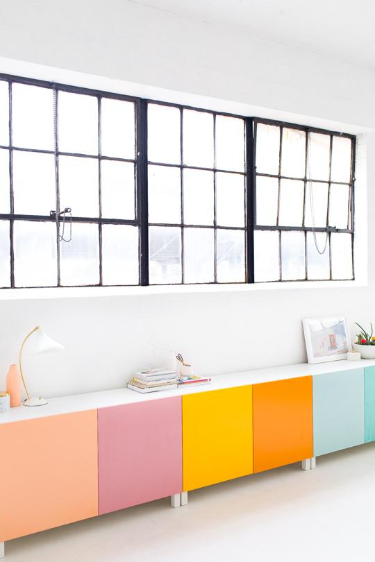 Ikea Cabinet Hacks Colorful