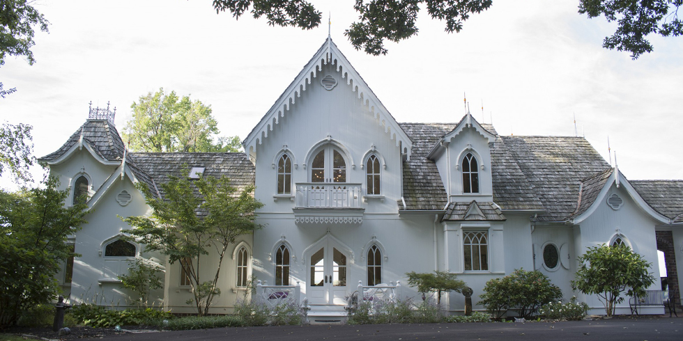 Gothic revival white home tour american gothic house design for Gothic revival house plans