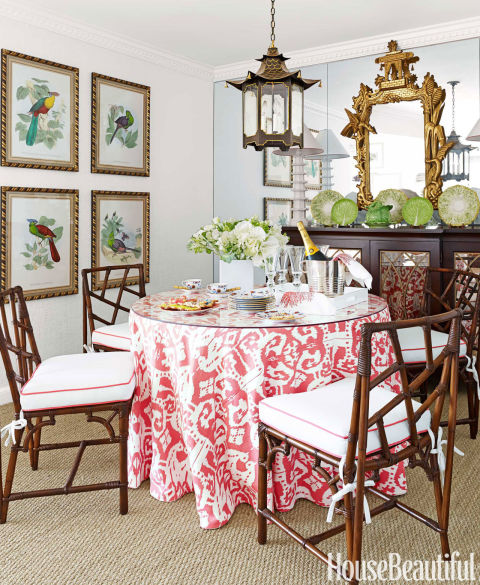 try a statement tablecloth - Easy Interior Decorating Ideas
