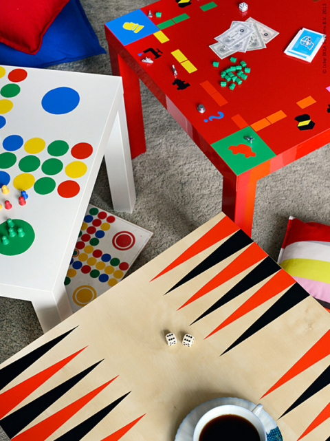 With a crafty eye and tons of bright paint, the blank table morphs into your favorite classic board games, like backgammon and Monopoly. Get the tutorial at IKEA »