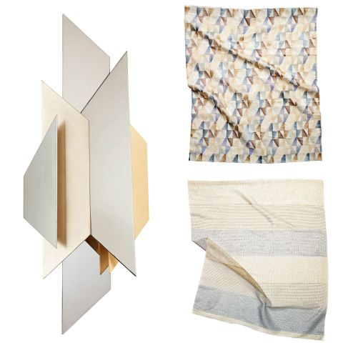 Platinum, gold, copper, steel — as long as they've got metallic sheen, they go together in our book. It's bling like you've never seen before.Left, top and bottom:Modernist Two-Light ADA Sconce, $876, corbettlighting.com; Clayton Embroidery in 953 by Hodsoll McKenzie and Viscose Blend on Linen, zimmer-rohde.com; Ponti (4790) in Sandstone Polyester, pindler.com
