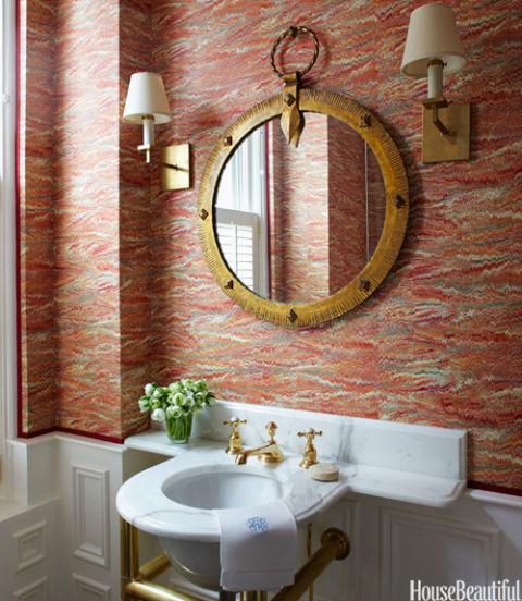 70 best bathroom colors paint color schemes for bathrooms for Bathroom wallpaper next