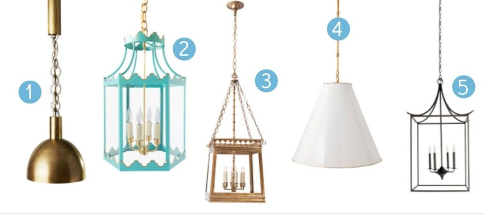 We love our chandeliers, but 2016 is the year of the statement pendant. 1.Link Porcelain Quad Light. $8,000, apparatusstudio.com.2. Paloma Lantern. $2,400, coleenandcompany.com.3. Clover Square Lantern by E.F. Chapman for Visual Comfort & Co. $987, circalighting.com.4. Goodman Pendant. $1,195, serenaandlily.com.5. Pagoda Lantern by VanCollier. $2,375, shopcandelabra.com.