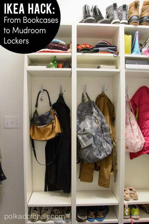 Turn bookshelves into lockers.