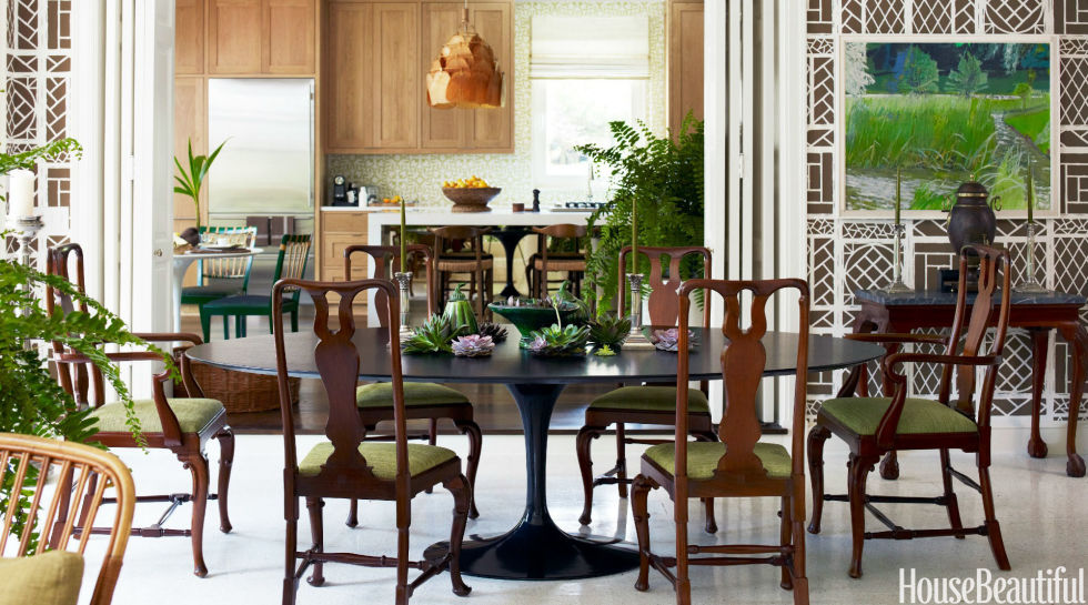 A Black Saarinen Dining Table By Knoll Offers Sleek Contrast To Traditional Queen Anne
