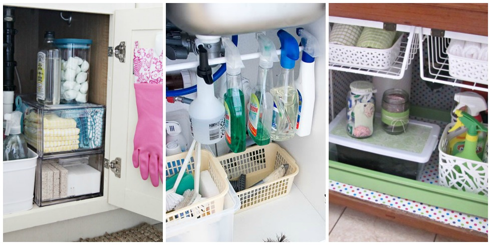 under the sink organization bathroom and kitchen vanity organizer hgtv