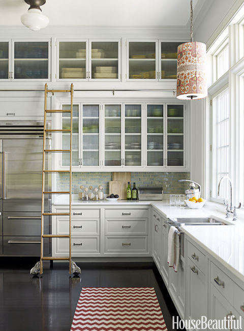 go vertical with a ladder - Kitchen Cabinets Storage Ideas