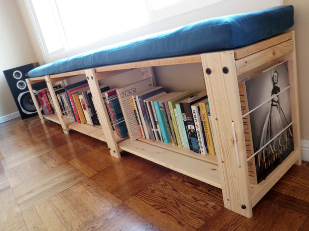 If your hardback collection continues to grow (and overflows beyond what your bookshelf can offer), use the bottom of a bench to hold your favorite reads. Then, when you're ready to enjoy one, you can just grab it and sit. See more at Instructables »