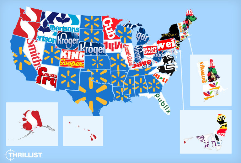Most Popular Grocery Stores By State US Grocery Store Map - Map of kroger stores in us