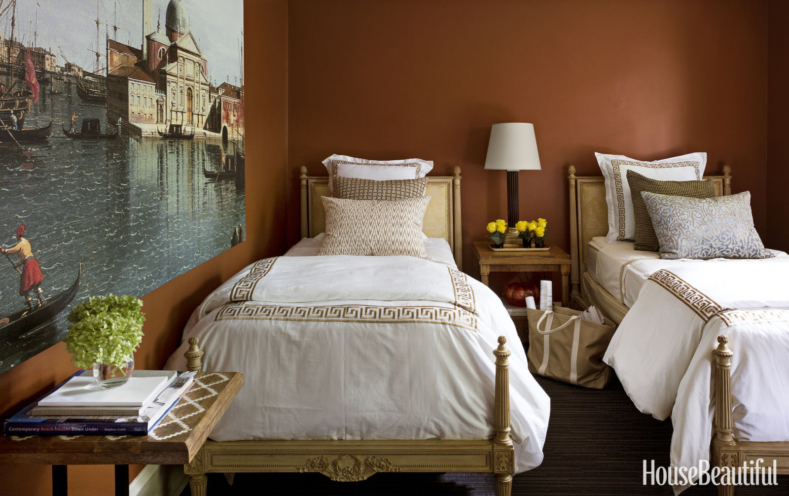 Brown wall colors for bedroom - Give Visitors The Royal Treatment A Carafe Of Water Stacks Of Books Nbsp And