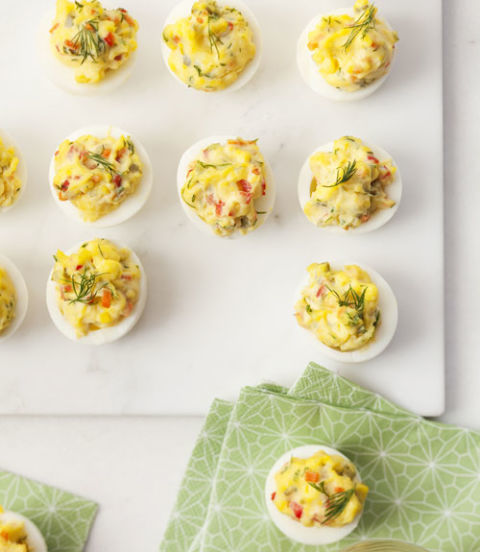 This flavorful appetizer with chopped peppers and cornichons is particularly fool-proof. Get the recipe for Easy Deviled Eggs »