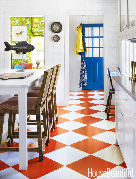 "For a head-to-toe makeover, the first step is creating a palette. ""I come up with a basic color scheme for the whole house, and then I take that from room to room,"" reveals Gary McBournie, a designer based in Boston. ""The color scheme here is actually really simple — a royal blue, a paler blue, a soft orange, a grass green, and that's pretty much it. But it plays itself out in different ways in different rooms."""