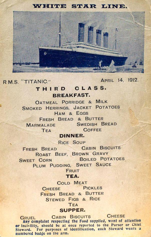 what passengers ate on the titanic - real titanic menus