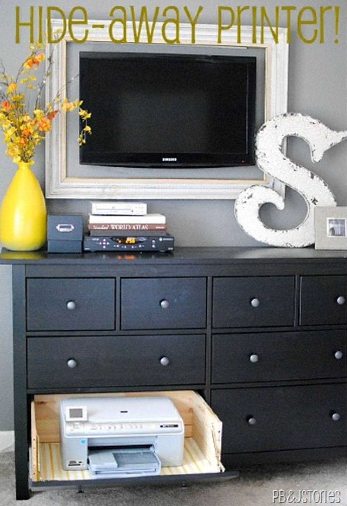 How to hide a printer printer storage solutions for Disguise tv on wall