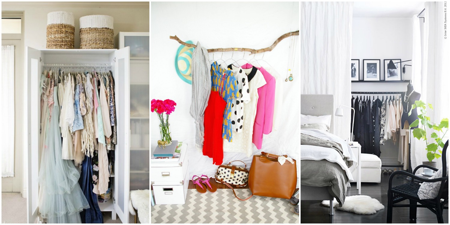 Closet Organizing Ideas storage ideas for a bedroom without a closet - genius clothing
