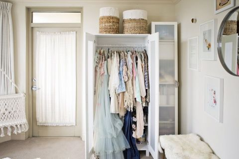 Storage ideas for a bedroom without a closet genius for Bedroom without closet options and alternatives