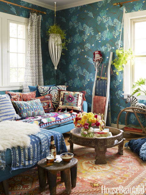 The Moroccan Inspired Lounge Which Blakeney Has Dubbed Bluhemia Is Wallpapered With Aja