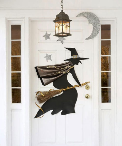 witch door decoration - Homemade Halloween Door Decorations
