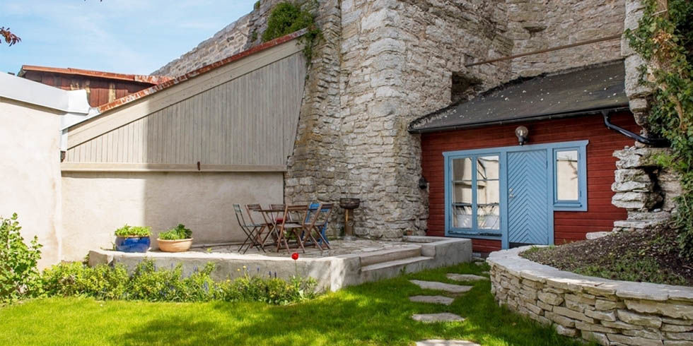 swedish home built into medieval wall - unique home in sweden