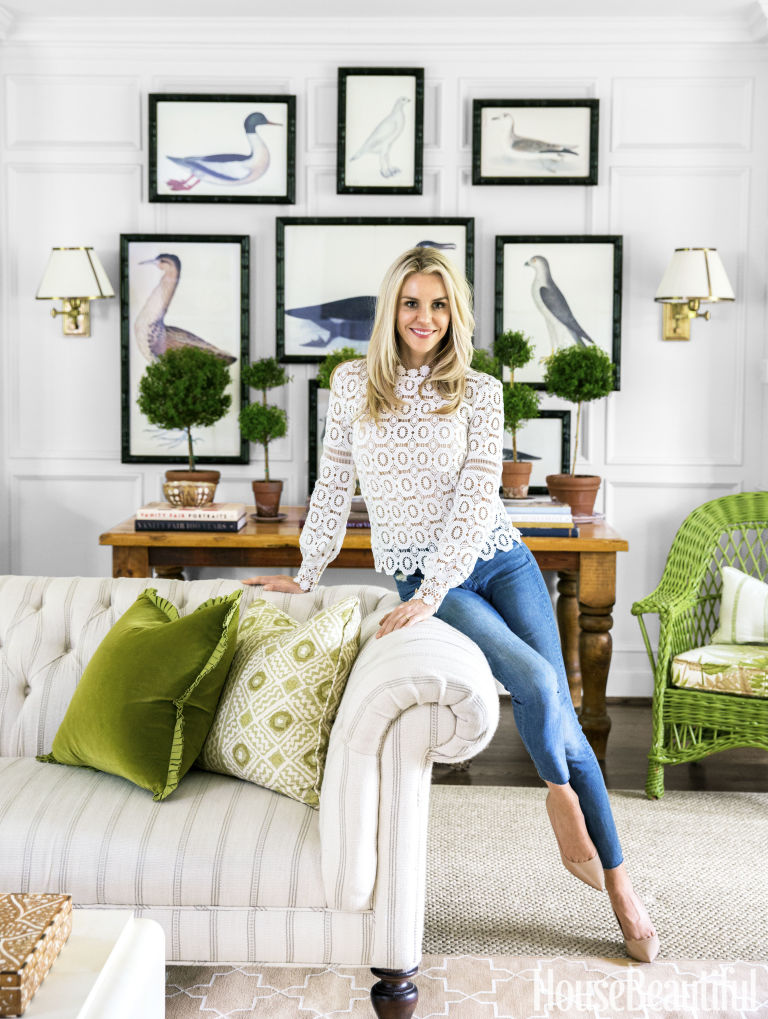 Bartholomew Sits In Her Nashville Living Room The Lee Industries Sofa Is Upholstered A Manuel Canovas Stripe