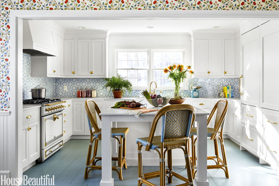 In The Kitchen White Cabinetry Sets Off A Backsplash In Mosaic House S Batha Moroccan Tile